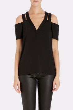 COOPER & ELLA Nikki Cold Shoulder Top in Black | Available at Keaton Row