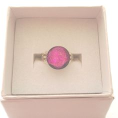 Pink dichroic fused glass ring adjustable by BeautifulGlassbyZoe