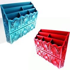 These super cool multifunctional Mid-Century 6-slot organizers were manufactured by Lerner and are made of hard molded plastic resin. They are strong, durable, and will last a life time! They have fantastic texture with detailed deep cut leaf and retro floral pattern + faux wood grain designs covering the entire surface giving it awesome overall dimension and visual appeal. Each caddy has been refreshed for some added style and up-to-date panache. They have a Boho COOL vibe and are a…