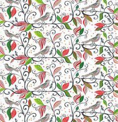 zeetzeet — WRENLY'S CHRISTMAS BIRD FLORAL, Cranberry/Pine Cotton Quilt Fabric