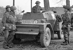 Dingo Armoured Car, 8th Royal Scots & 1 Canadian Parachute Battalion after crossing the Rhine, Bergerfarth, Germany, 25 Mar 1945.  (Library and Archives Canada Photo, MIKAN No. 3524486)