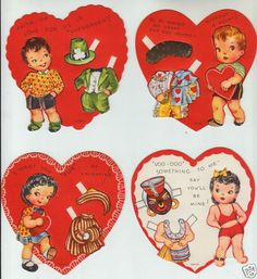 5 Unused Valentine Greeting Paper Doll Cards RARE Uncut Vintage 1940s Hearts | eBay