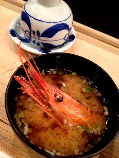 Japanese Shrimp-Dashi Miso Soup at Sushi Restaurant FUKUZUSHI (Roppongi, Tokyo)|寿司屋の味噌汁