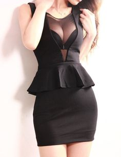 Sexy Sleeveless Voile Splicing Packet Buttock Backless Flouncing Women's Club Dress, BLACK, ONE SIZE in Club Dresses | DressLily.com