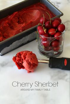 Delicious Cherry Sherbet...it's dairy free and vegan, but you wouldn't know.  And has less added sugar too!