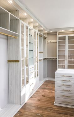 Jan 2020 - California Closets designer Kristen Correa -Southern New Jersey, luxe closet in Tesoro Tuscan Moon finish with gold and lighting Master Closet Design, Walk In Closet Design, Master Bedroom Closet, Closet Designs, California Closets, Closet Interior, Wardrobe Room, Closet Layout, Dressing Room Design