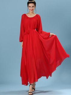 Vestido manga larga gasa plisado -rojo