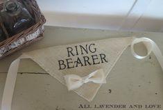Ivory Ring Bearer Boy Bowtie Dog Collar by AllLavenderandLove
