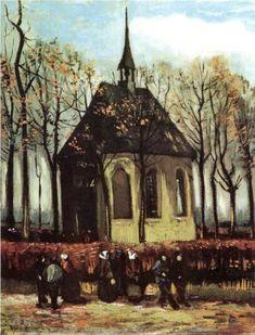 Vincent van Gogh (Dutch: 1853 – 1890) | Congregation Leaving the Reformed Church in Nuenen 1884