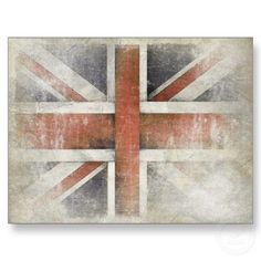 Postcard with distressed vintage flag from Great Britain.