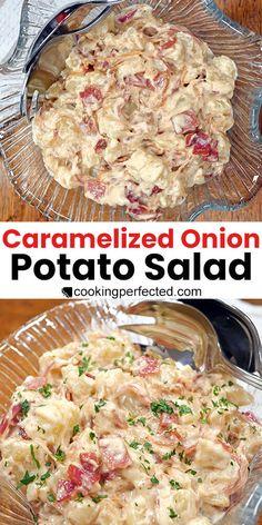 Caramelized Onion Potato Salad with Bacon Onion Recipes, Salad Recipes, Homemade Corned Beef, Honey Balsamic Chicken, Potato Salad Dressing, Classic Potato Salad, Homemade Mayonnaise, Potato Dishes, Vegetable Salad