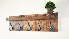 Everyday Rustic Coat Rack with Shelf by PennRustics on Etsy