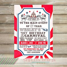 Carnival Theme Birthday Party, Circus Birthday Printable Invitation, Circus Birthday Party, Vintage Circus , Baby Shower, Couples Shower