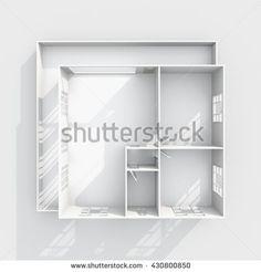 #Stock #photo: #3d #interior #rendering of #empty #paper #model #home #apartment with #balcony: #room, #bathroom, #bedroom, #kitchen, #livingroom, #hall, #entrance, #door,#window #shutterstock