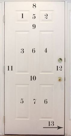 """The order in which to paint panels on a door. """"Contrary to popular belief, there is a special way that one needs to paint a front door, especially if it has a lot of panels. You want to make sure you do it right so you don't have any drippings or pool ups of paint."""""""