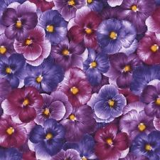 Sold by half yard increments (Multiple quantities will be in a continuous piece) Viola - Packed Purple Pansies by Chong-a Hwang for Timeless Treasures SKU: Cotton Width: