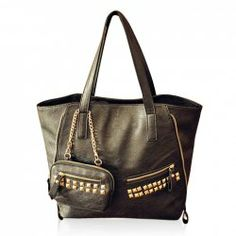 $12.27 Punk Style Casual Women's Shoulder Bag With Rivets Metal Chain and Solid Color Design