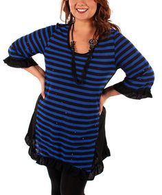 Just ordered!! Whoot WHoot! Take a look at this Black & Blue Stripe Ruffle Tunic - Plus by Aster: Plus-Size on @zulily today!
