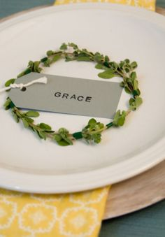 Herb wreath place card... nice for Thanksgiving.