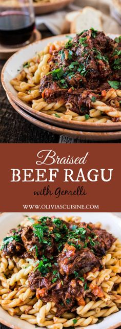 Braised Beef Ragu with Gemelli | www.oliviascuisine.com | A classic Italian dish that is perfect for the cold weather. Comforting, hearty, delicious and easy to make!