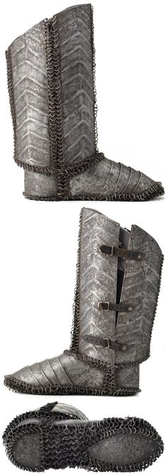 Ottoman armored boot, century, steel plates connected by round riveted… Armor Boots, Helmet Armor, Larp Armor, Medieval Knight, Medieval Armor, Medieval Fantasy, Types Of Armor, Ancient Armor, Fantasy Armor