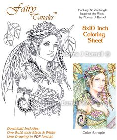 Cybele and Kaida Little Dragon Fairy Tangles Coloring Sheet Coloring Page by Norma J Burnell Fairies Dragons
