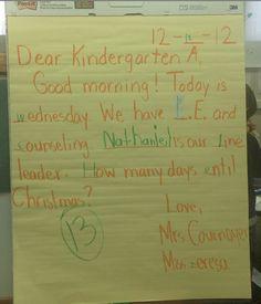 Morning Message in a Kindergarten A classroom