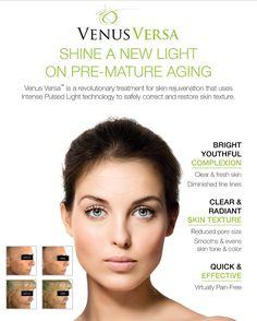 Shine a new light on pre-mature aging ! Experience Venus Versa a revolutionary treatment for Skin Rejuvenation & for Restoring  your Skin Texture. To know more about Venus Versa visit http://hub.venusconcept.com/venusversa/lp/in  #VenusBeauty #VenusVersa