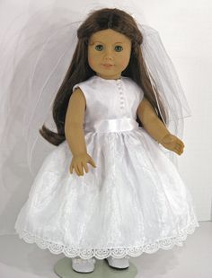 18 inch American Girl Clothes -  First Communion Doll Dress, Veil, Pantalettes  - Organza, Satin