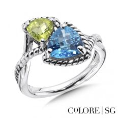 From our Colore SG collection, this sterling silver bypass design is elevated by a combination of colors and shape.