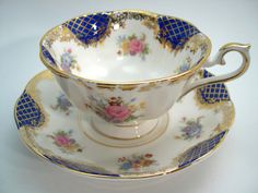 Royal Albert Empress Series Isabella Tea Cup and Saucer, Royal Albert cobalt blue and gold tea cup. by BeadsbyVince on Etsy