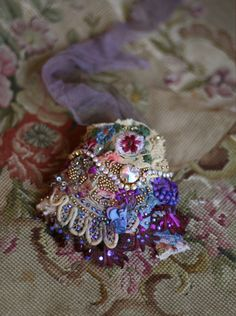 romantic shabby chic wrist cuff -antique laces,  hand  beaded
