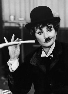 Lucille Ball as Charlie Chaplin. role model since childhood, hysterical
