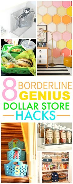 You HAVE TO check out these 8 Dollar store hacks! They're SO GOOD! I've already tried a couple and I've save SO MUCH money and my home looks so cute! I'm SO GLAD I found this! Pinning for later!