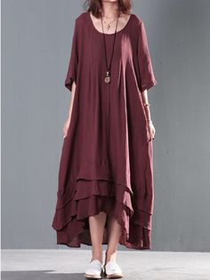 Vintage Short Sleeve High Low Long Maxi Dress For Women