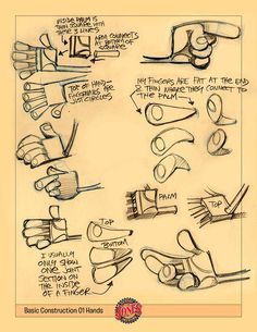 "I received an email this morning from Doug down in South Africa. He asked if I could give him a lesson on how to construct ""Dennis Jones"" hands. That reminded me of a job I did a few ye… Hand Drawing Reference, Animation Reference, Drawing Tips, Drawing Techniques, Pose Reference, Character Design Animation, Character Design References, Character Sketches, Cartoon Drawings"