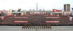 경애하는 최고령도자 김정은동지께서 올해 신년사에서 제시하신 강령적과업을 철저히 관철하기 위한 평양시군중대회