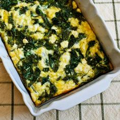 This Kale and Feta Breakfast Casserole is something I've made over and over! [from Kalyn's Kitchen] #LowCarb #GlutenFree #Kale #Breakfast