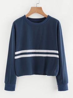 b1fc9d798 Striped Trim SweatshirtFor Women-romwe Cute Sweatshirts