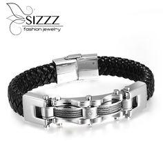 Japen Korea Men titanium steel braided genuine leather charm chain Bracelet Bangles Wholesales Fashion Jewelry for man