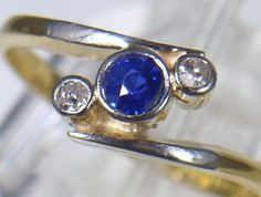 Antique 18ct Gold & Platinum Sapphire & 2 Diamond Dress Ring c 1920's Size K 1/2