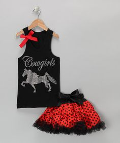 Take a look at this Black Cowgirls Tank & Red Pettiskirt - Infant, Toddler & Girls by So Girly & Twirly on #zulily today!