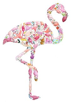 F is for Flamingo  Children's Art Print by LouTateIllustration, £40.00