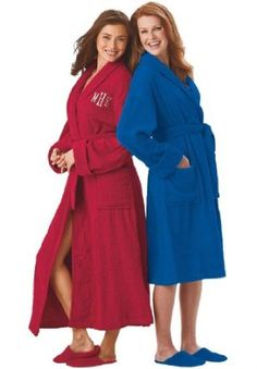 Dreams And Company Plus Size Short Terry Robe With Free Matching Slippers (Cobalt,M) DREAMS. $34.99