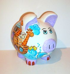 Jumbo Ceramic Piggy Bank Noah's Ark Animals Boat Water Rainbow Dolphins Hand Painted Large Elephants Giraffes Hippos Dove 9 x Easter Bingo, Giraffe, Elephant, Personalized Piggy Bank, Cute Piggies, Piggy Banks, This Little Piggy, Hand Painted Ceramics, Pigs