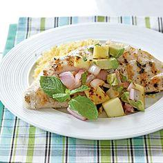 Snapper with Grilled Mango Salsa | MyRecipes.com