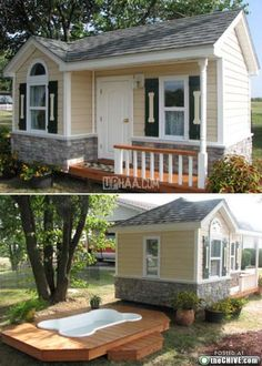 This dog house is amazing. The shutters with the dog bones, its own door, windows, and pool!!!
