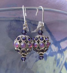 Regal Swarovski Encrusted Purple Velvet and Cyclamen by JemsbyJoan, $37.50
