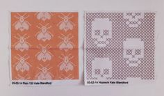 Kate Blandford - cross stitch and stuff Bee and skull cross stitch fabric samples