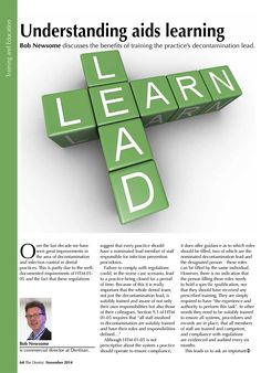 Bob Newsome - Understanding aids learning - The Dentist, November 2014 (64/66). Page 1 of 2.